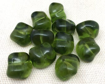 20 Vintage Translucent Baroque Olive Green Czech Glass Beads