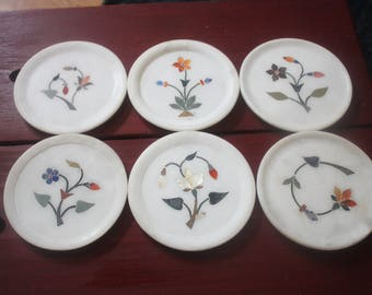 Vintage Set of Six Marble Coasters with Hand Painted Stylistic Flowers