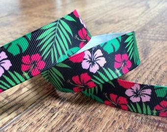5 yards 7/8 Hawaiian ribbon. Hawaiian shirt ribbon, floral ribbon, hairbows, grosgrain ribbon, craft, crafting, sewing, ribbon, hibiscus