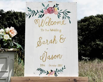 Welcome to our wedding - Hand Painted Personalised Sign