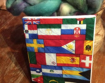 Hand Bound Journal - Flag print fabric cover - lined paper