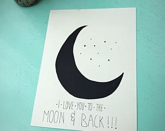 To The Moon and Back- 9x12 illustration- wall art- nursery art