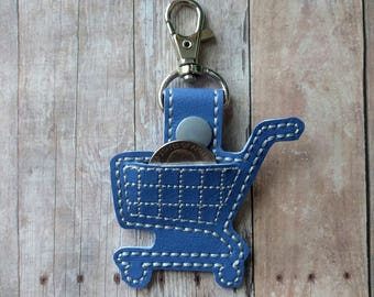Quarter Keeper Coin Holder Shopping Cart Key Chain, Embroidered Vinyl in Your Choice of 31 Colors with Coordinating Snap, Made in USA
