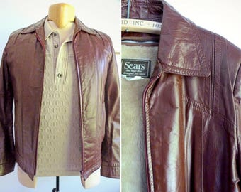 Men's burgundy genuine leather jacket with removable liner