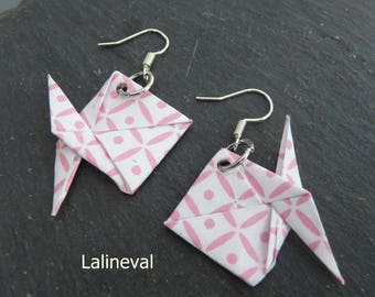 Origami fish pink and white earrings
