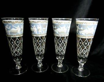 Mid Century Set of 4 Pilsner Glasses, Cera Etruscan Frieze Pilsner , Blue White Gold,  Mid Century Barware