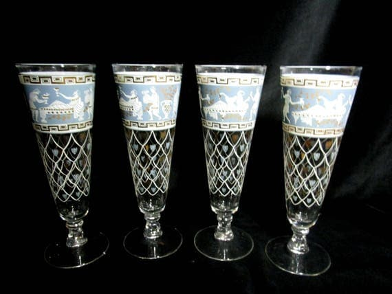 Mid Century Set of 4 Pilsner Glasses, Cera Etruscan Frieze Pilsner , Blue White Gold,  Mid Century Barware