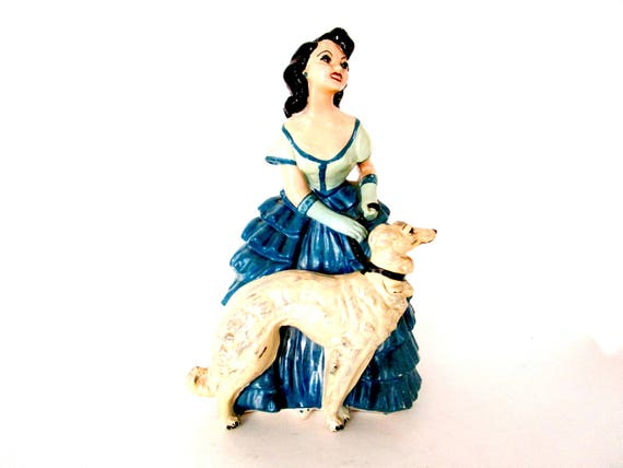 Chalkware Woman with Wolfhound, Large Woman and Dog Statue, Chalkware Figurine Woman and Borzoi