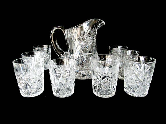 Antique Cut Crystal Pitcher and 8 Glasses, Large Brilliant Cut Pitcher, 8 Cut Crystal Glasses, Formal Dining, Excellent Condition