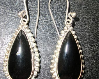 Black Onyx and Sterling Silver Beaded Setting  DropPierced Earrings
