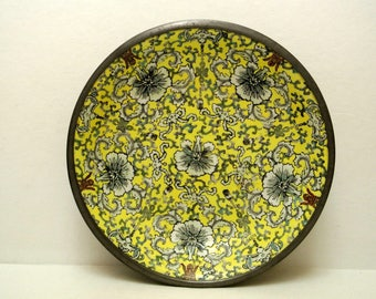 Vintage Japanese Porcelain Ware Low Bowl Decorated in Hong Kong A.C.F Encased in Pewter Asian Floral Cloisonne