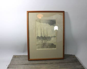 Vintage pen and ink drawing of sailboats, waterfront signed by artist. Signed artist proof. Art, artwork, pen and ink, artist proof, print