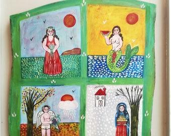 Four seasons painting, large folk art painting on wood, Greek folk art, vintage painting on salvaged wood, winter-spring-summer-fall