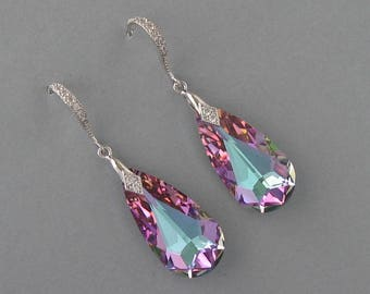 Genuine Swarovski Drop Crystal Earrings - Purple Bridal Earrings in Rhodium Plated - Swarovski Earrings - Purple Earrings - DK343