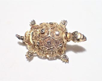 Sterling Vermeil Marcasites and Garnets Filigree Turtle Brooch by Willi Nonnenmann 1960s Germany