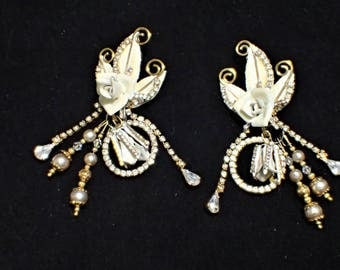 LATR Lunch At The Ritz Honor Rose Loops Clip Bridal Wedding Dangle Earrings