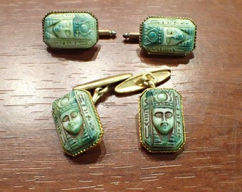 Egyptian Revival Pharaoh Peking Glass Rolled Gold Filled Cufflinks and Shirt Studs