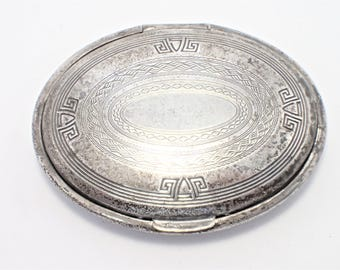 Scoville Mfg, Silver Plate Art Deco 1924 Makeup Compact