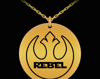 Star Wars Rebel Laser Engraved Necklace Gift Resist Resistance (Choice of Metal)