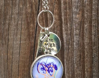 Kids artwork jewelry - necklace for Mom - personalized