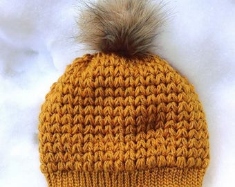 Nº100 Fitted Beanie   Crochet Beanie   Winter Hat   Mustard   Knit Hat   Faux Fur Pom Pom   Chunky Crochet Hat   Handmade   Gift for Her