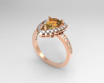 2.14 carats natural precious topaz 0,32 carats diamonds ©