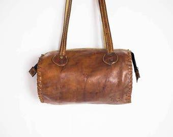 70s Leather Barrel Bag