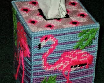 Plastic Canvas Tissue Box Cover -Pink Flamingo Tissue Box Cover - Plastic Canvas Tissue Box Cover - Handmade Plastic Canvas Tissue Box Cover