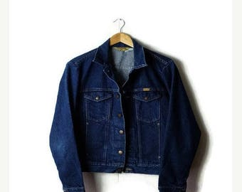 ON SALE Vintage Rustler Indigo Blue Denim Jean Jacket from 1980's*