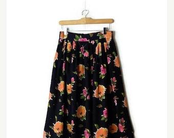 ON SALE Vintage Black x  Pink/Orange Floral Printed  Flare Skirt from 1980's/W26-34*