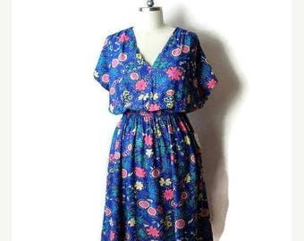 ON SALE Vintage Blue x Colorful Floral Printed Short sleeve Dress from 1980's*