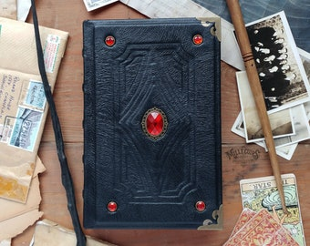 Blood Stone handmade leather journal, black goth larp book, handcrafted dark Christmas gift grimoire, red stone gemstone sketchbook notebook