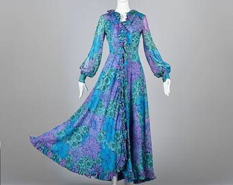 Small La Mendola Flowy  Maxi Dress Long Sleeve Silk Dress Signature Print Evening Gown Vintage 1960s Blue Formal Dress