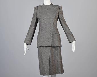 XS Giorgo Armani Avant Garde Separates Wool Skirt Suit Asymmetric Blazer Jacket 1990s Autumn Business Suit