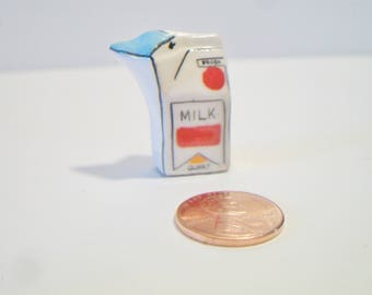 Ceramic Milk Carton Pin Quart Size Jewelry Dairy Lover