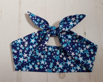 Red Star Rockabilly Head Scarf With or Without Wire