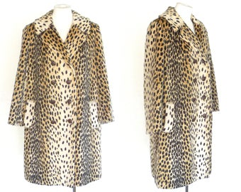 60s 70s Cheetah Coat Faux Fur Vintage Beige Tan w Black Spots M to LM Free Domestic and Discounted International Shipping