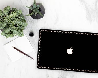 Black and Thin Scallop Rose Gold Edge Hybrid Hard Case for Apple Mac Air & Mac Retina , New Macbook 2016 - Platinum Edition