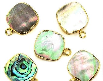 30% OFF 22k Gold Electroplated Abalone, 14mm Square Single Bail Gemstone Charms Necklace Connector / Pendant 1pc (SEE-10352)