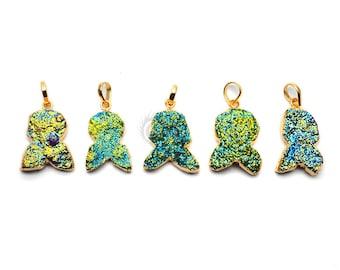 Druzy Pendant, Druzy Gold Pendant, Gold Plated Druzy Pendant, Green Druzy Pendant, Druzy Locket, GemMartUSA (DE-51020)