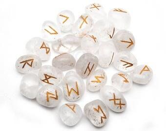 Crystal Rune Stones, Rune Stones, Spiritual Stones, Rune Stone Symbols, Natural Rune Gemstones, GemMartUSA (RNCL-15001)