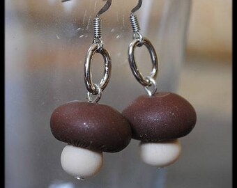 Mushrooms in polymer clay earrings