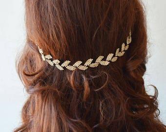 Rhinestone Leafs Headband, Crystal Floral Bridal Hairpiece, Wedding Hair Piece, Headpiece Grecian, Wedding Hair Accessories
