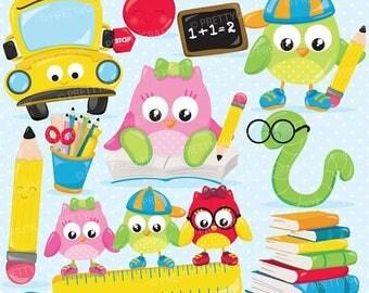 80% OFF SALE School owls clipart, clipart commercial use, vector graphics, digital clip art, digital images - CL898