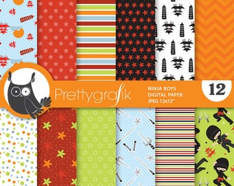 80% OFF SALE Ninja boys digital paper, commercial use,  scrapbook papers,  background, sports - PS886