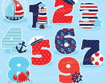 80% OFF SALE Nautical numbers clipart, clipart commercial use, vector graphics, digital clip art, digital images - CL904