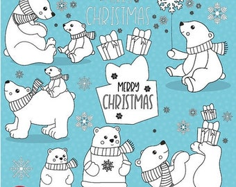 80% OFF SALE Polar bear digital stamp commercial use, vector graphics, digital stamp,  - DS1048
