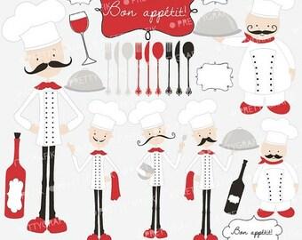 80% OFF SALE chef kitchen clipart commercial use, vector graphics, digital clip art, digital images - CL557