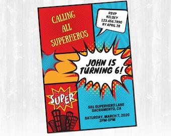 Superhero Birthday Party Invitation, Superhero Invitation, Superhero Birthday - Full Customization - Digital Download - Printable Invitation