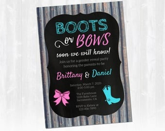 Boots or Bows Gender Reveal Invitations, Rustic Gender Reveal Invitation, Gender Reveal Invite, Customizable, Print from home!